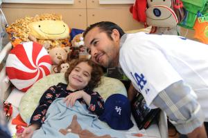 LOS ANGELES DODGERS ANDRE ETHIER VISITS CHILDREN'S HOSPITAL LOS ANGELES.