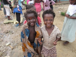 Two girls overjoyed to take a picture.